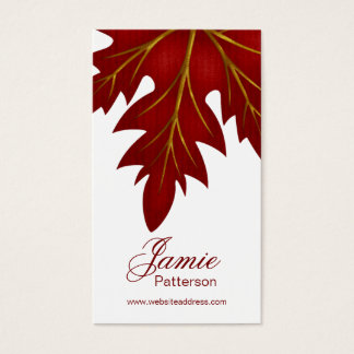 Red Fall Leaf Design Vertical Business Cards