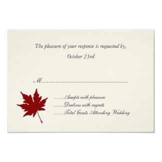 Red Fall Leaf Wedding Response Cards Announcements