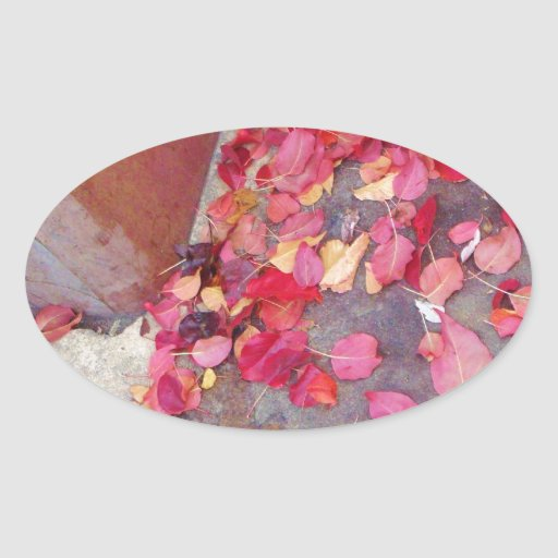 Red Fall Leaves Oval Sticker