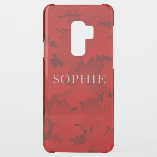 Red Fall Leaves Personalized Name Uncommon Samsung Galaxy S9 Plus Case