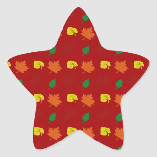 Red fall leaves star stickers