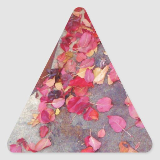 Red Fall Leaves Triangle Sticker