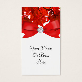 Red Fall Tree Leaves With Ribbon On White Wedding Business Card
