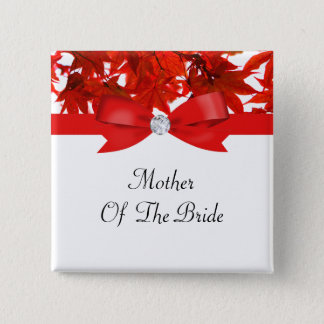 Red Fall Tree Leaves With Ribbon On White Wedding Button