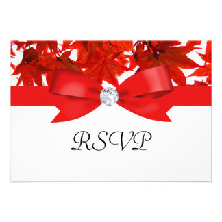 Red Fall Tree Leaves With Ribbon On White Wedding Invitation