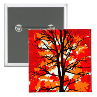 Red Fall Tree Pinback Button