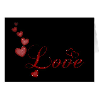Red Falling Hearts Love Valentine Greeting Card