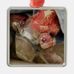 Red Fancy Cowboy Boot Metal Ornament