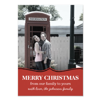 Red Fancy Design Christmas Photo Flat Cards