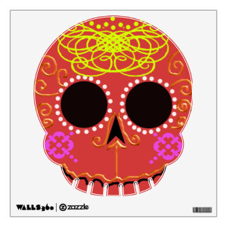 "red fancy ""sugar skull"" wall decal"