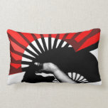 Red Fan's Shadow Throw Pillow