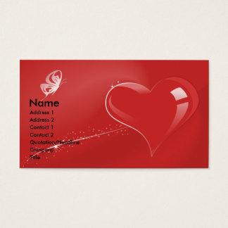 RED FANTASY HEART AND BUTTERFLY BUSINESS CARD