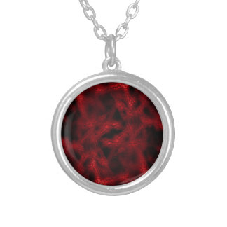 Red fantasy pattern silver plated necklace