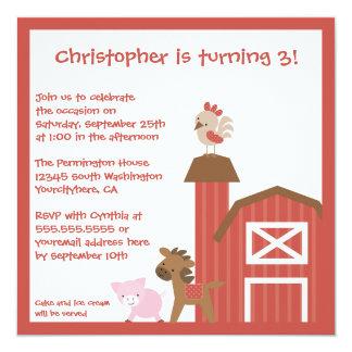 Red farm animals boy's birthday party invitation