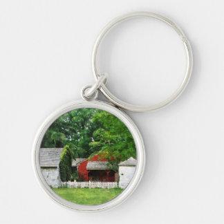 Red Farm Shed Keychain