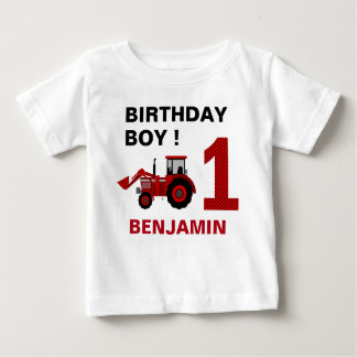Red Farm Tractor 1st Birthday Party Baby T-Shirt