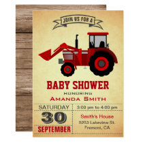 Red Farm Tractor Baby Shower Invitation