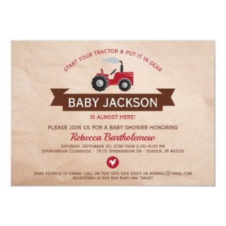 Red Farm Tractor Baby Shower Invitations