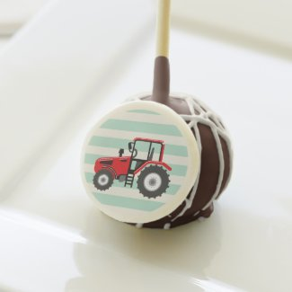 Red Farm Tractor Cake Pops