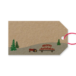 Red Farm Tractor Christmas Gift Tag