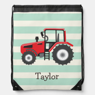 Red Farm Tractor Drawstring Backpack