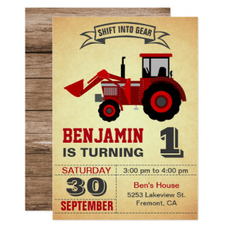 Red Farm Tractor First Birthday Party Invitation