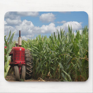 red farm tractor in cornfield mouse pad