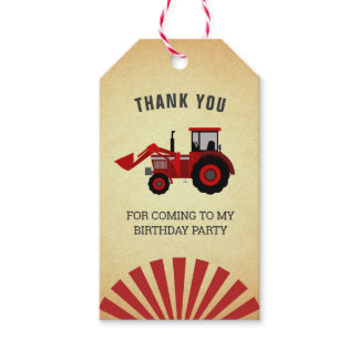 Red Farm Tractor Kids Birthday Party Favor Gift Tags