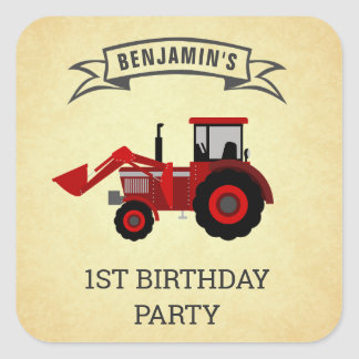 Red Farm Tractor Kids Birthday Party Favor Sticker