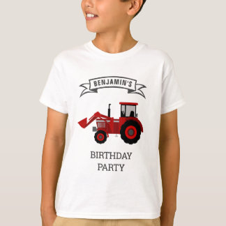 Red Farm Tractor Kids Birthday Party T-Shirt