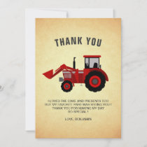 Red Farm Tractor Kids Birthday Party Thank You Card