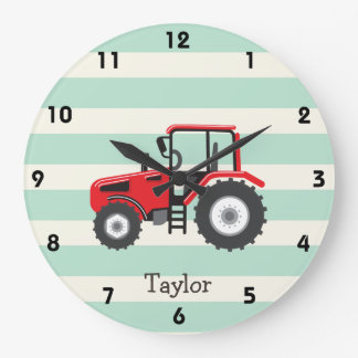 Red Farm Tractor Large Clock