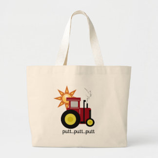 Red Farm Tractor Large Tote Bag