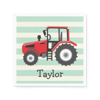 Red Farm Tractor Napkin
