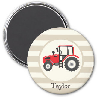 Red Farm Tractor on Tan Stripes 3 Inch Round Magnet