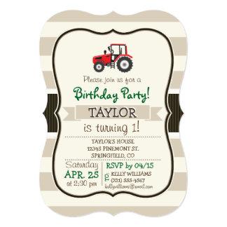 Red Farm Tractor on Tan Stripes 5x7 Paper Invitation Card