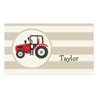 Red Farm Tractor on Tan Stripes Double-Sided Standard Business Cards (Pack Of 100)