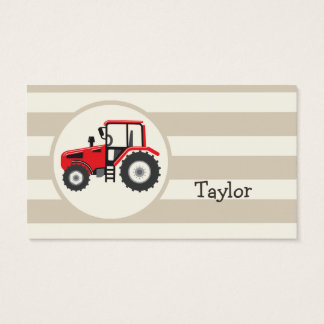 Red Farm Tractor on Tan Stripes Business Card
