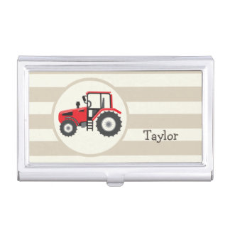 Red Farm Tractor on Tan Stripes Business Card Case