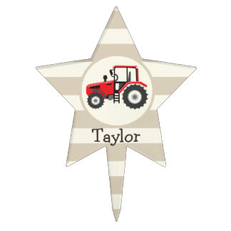 Red Farm Tractor on Tan Stripes Cake Topper