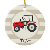 Red Farm Tractor on Tan Stripes Ceramic Ornament