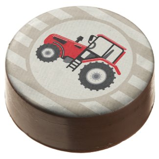 Red Farm Tractor on Tan Stripes Chocolate Covered Oreo