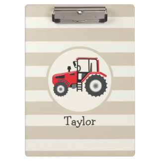 Red Farm Tractor on Tan Stripes Clipboards