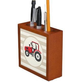 Red Farm Tractor on Tan Stripes Desk Organizers