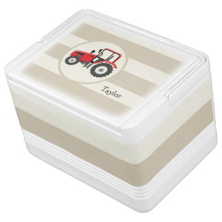 Red Farm Tractor on Tan Stripes Drink Cooler
