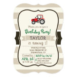 Red Farm Tractor on Tan Stripes 5x7 Paper Invitation Card