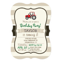 Red Farm Tractor on Tan Stripes Invitation