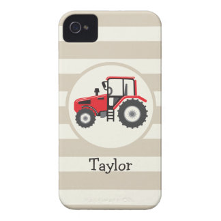 Red Farm Tractor on Tan Stripes iPhone 4 Case-Mate Case