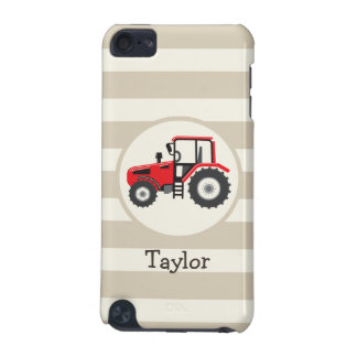 Red Farm Tractor on Tan Stripes iPod Touch 5G Cases