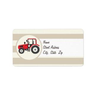 Red Farm Tractor on Tan Stripes Custom Address Labels